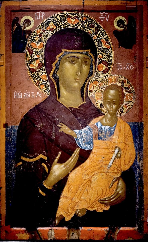 """Икона Божией Матери """"Одигитрия"""". Византия, начало XV века. Византийский музей в Кастории, Греция."""