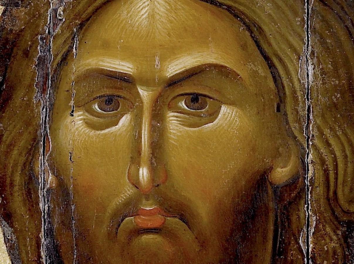 Христос Пантократор. Византийская икона второй половины XIII века. Монастырь Ватопед на Афоне. Фрагмент.
