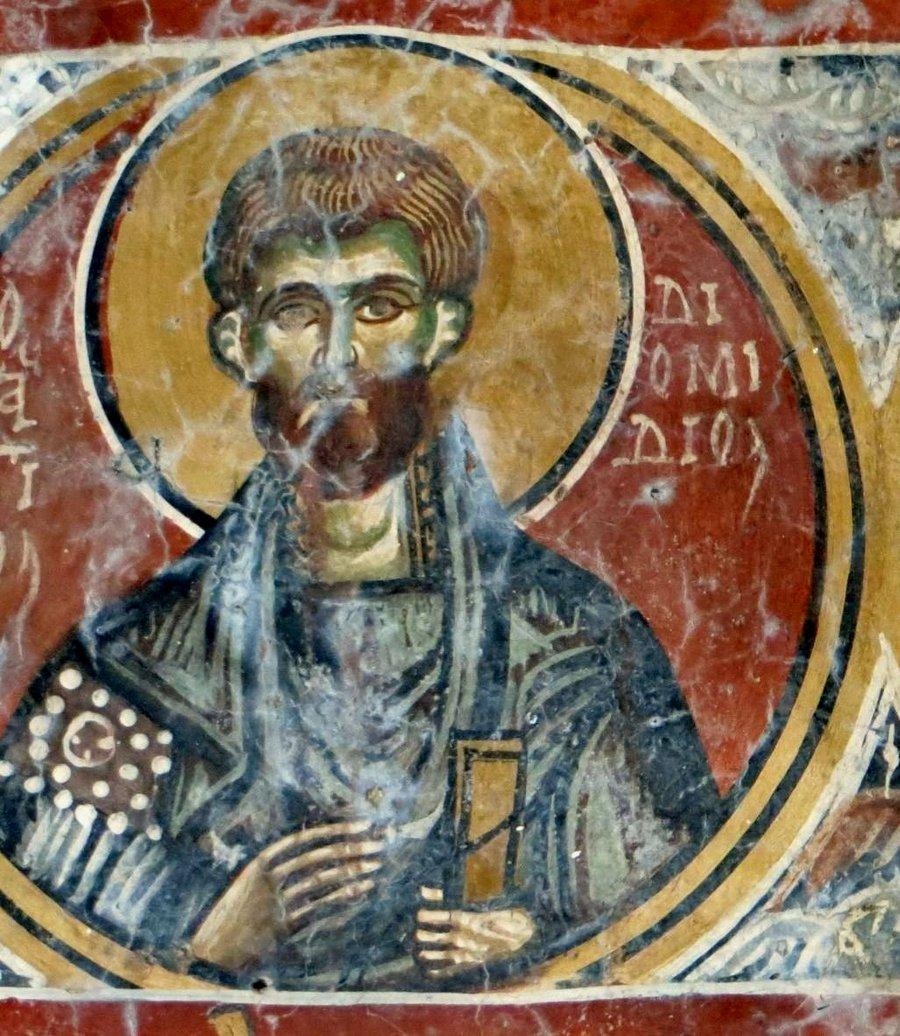 Святой Мученик Диомид Врач. Фреска церкви Святого Георгия в Мурне на Крите.
