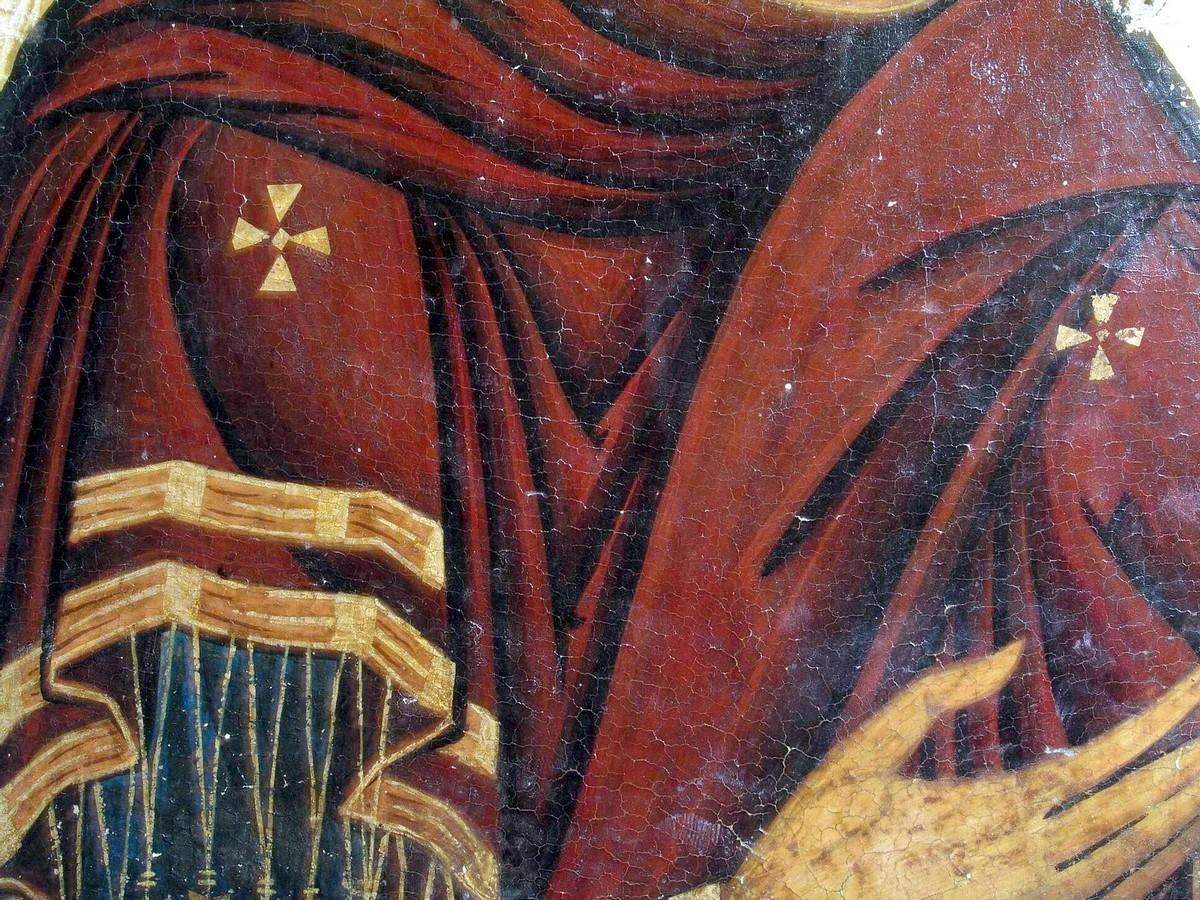 "Икона Божией Матери ""Агиосоритисса"" (""Елеуса""). Кипр, 1183 год. Иконописец Апсевд Феодор. Происходит из монастыря Святого Неофита Затворника. Византийский музей архиепископа Макария III в Никосии. Фрагмент."