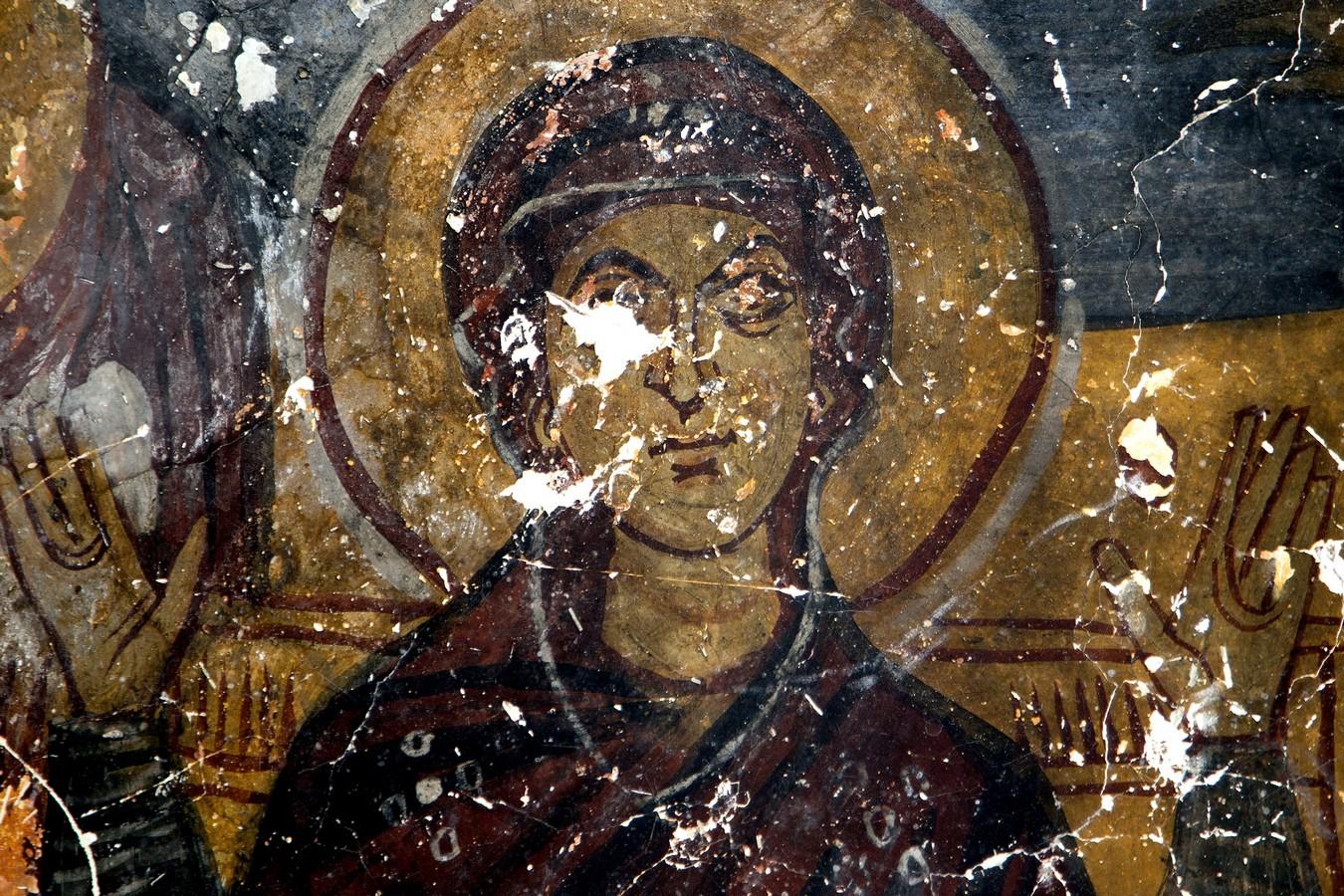 Лик Пресвятой Богородицы. Фреска церкви Йиланлы килисе в Соганлы, Каппадокия. Вторая половина XI века.