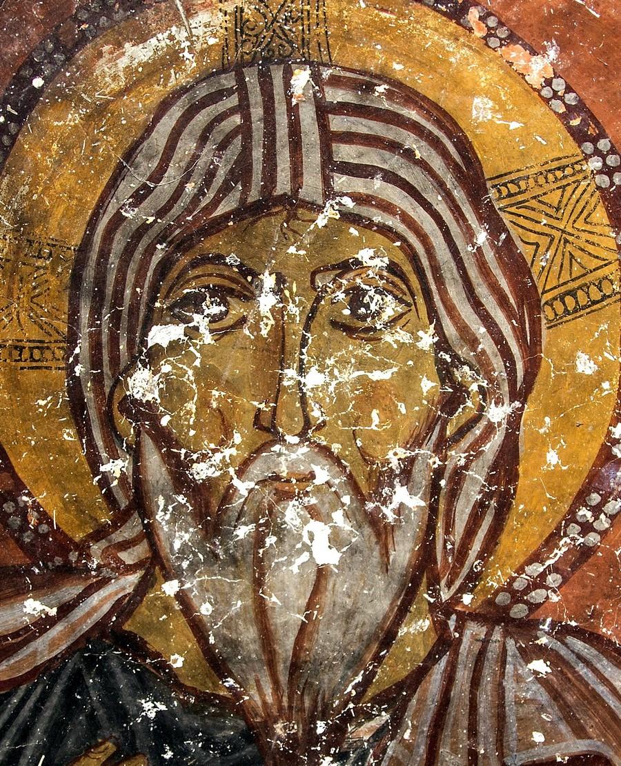 Христос Ветхий денми. Фреска церкви Йиланлы килисе в Соганлы, Каппадокия. Вторая половина XI века. Фрагмент.