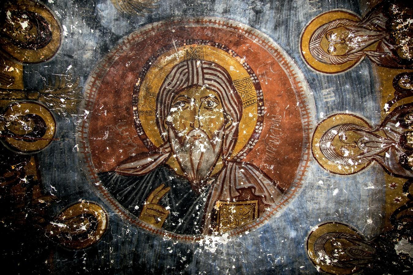 Христос Ветхий денми. Фреска церкви Йиланлы килисе в Соганлы, Каппадокия. Вторая половина XI века.