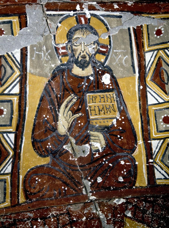 """Господь Иисус Христос на Престоле. Фреска церкви Йиланлы килисе в долине Ихлара, Каппадокия. Надпись на раскрытом Евангелии: """"Мир вам""""."""