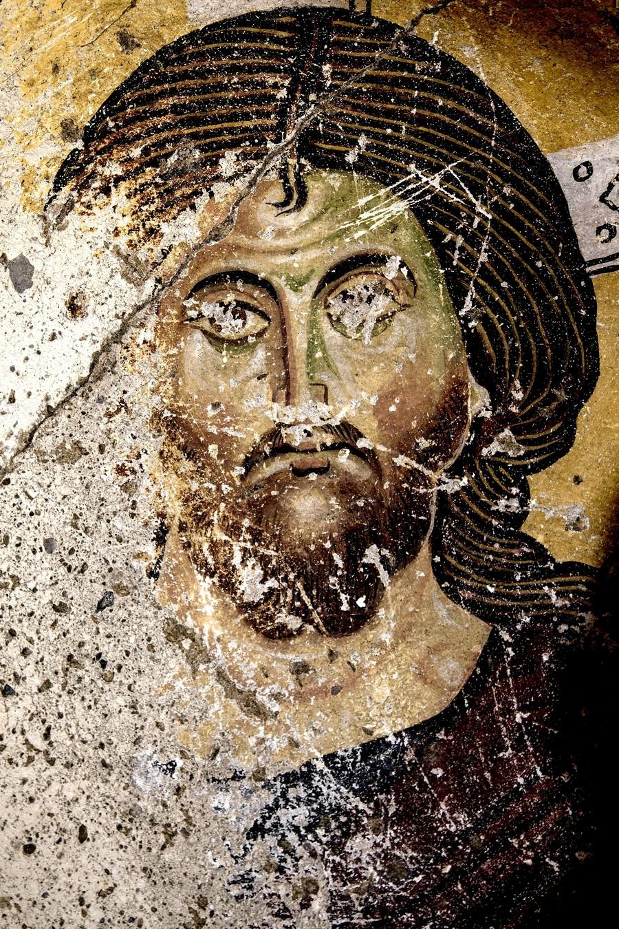 Христос Пантократор. Византийская фреска. Ортахисар, Каппадокия. Фрагмент.