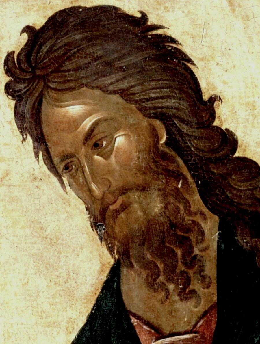Святой Пророк, Предтеча и Креститель Господень Иоанн. Икона. Византия, 1360-е годы. Сербский монастырь Хиландар на Афоне. Лик.
