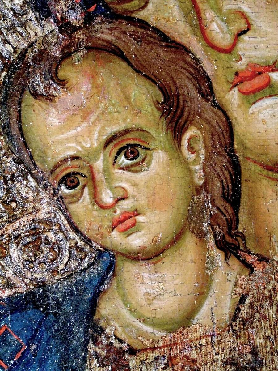 Пресвятая Богородица с Младенцем. Кипрская икона XIV века. Византийский музей Архиепископа Макария III в Никосии. Фрагмент.