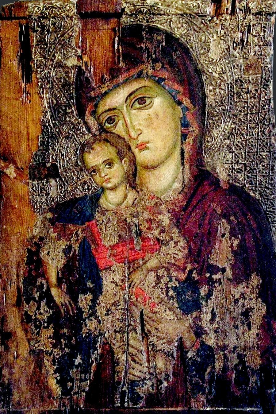 Пресвятая Богородица с Младенцем. Кипрская икона XIV века. Византийский музей Архиепископа Макария III в Никосии.