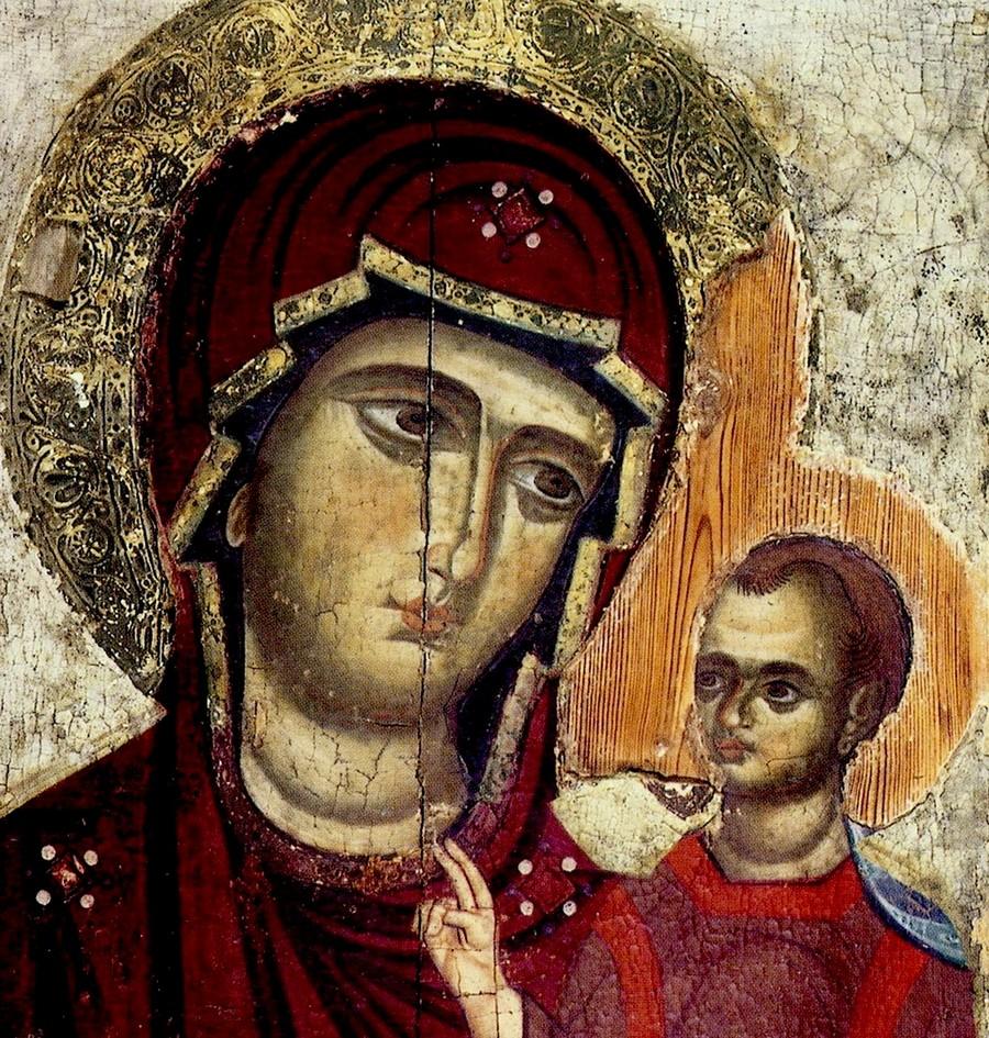 """Икона Божией Матери """"Одигитрия"""". Кипр, около 1280 года. Фрагмент."""
