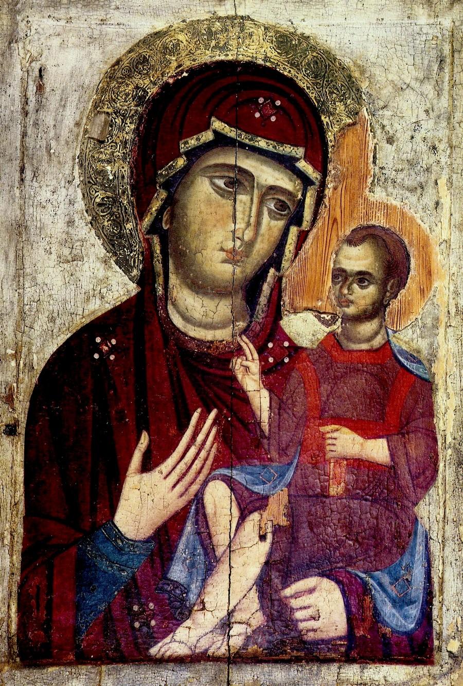 """Икона Божией Матери """"Одигитрия"""". Кипр, около 1280 года."""