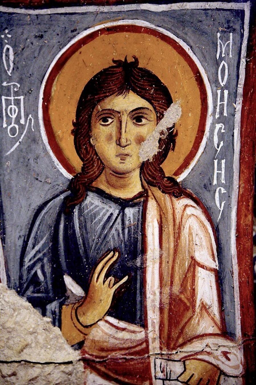 Святой Пророк Моисей Боговидец. Фреска церкви Каранлык килисе в Каппадокии. Середина - третья четверть XI века.