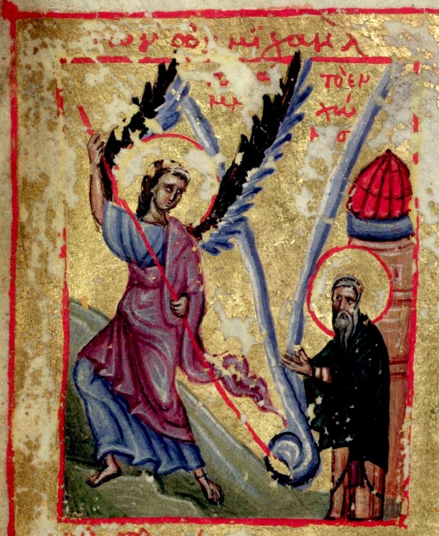 Чудо Архистратига Михаила в Хонех. Византийская миниатюра XIV века.