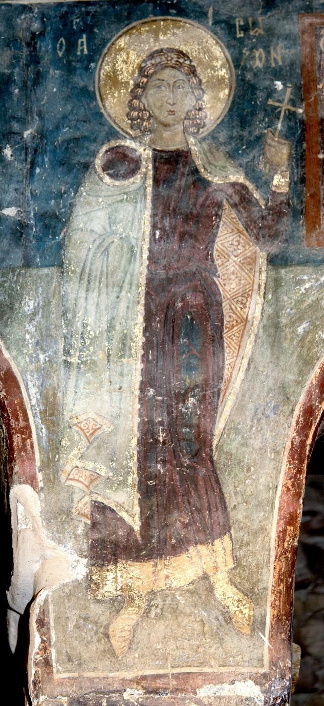 Святой Мученик Созонт Помпеопольский. Фреска церкви Святых Архангелов в Кастории, Греция. IX - X век.