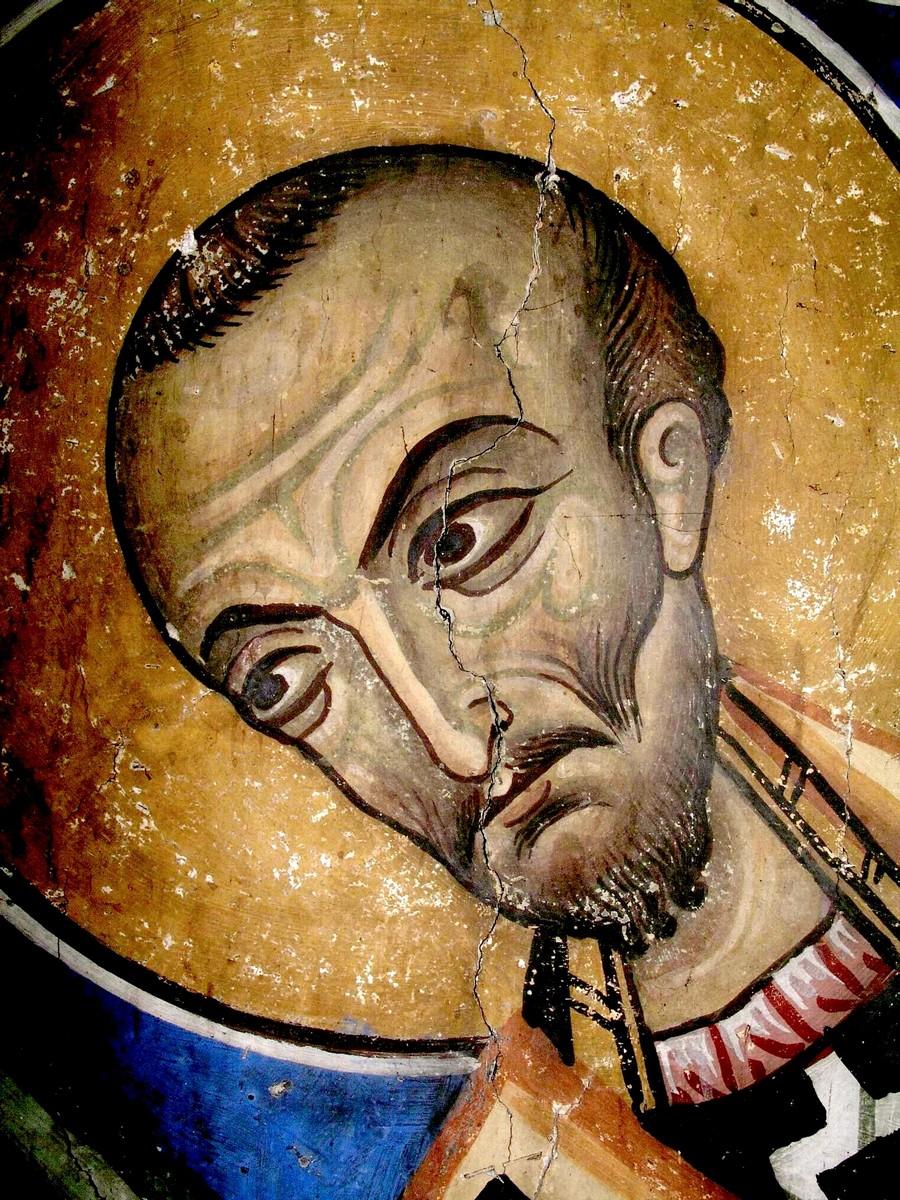Святитель Иоанн Златоуст. Фреска церкви Архангела Михаила, Като Лефкара, Кипр. XII век. Фрагмент.