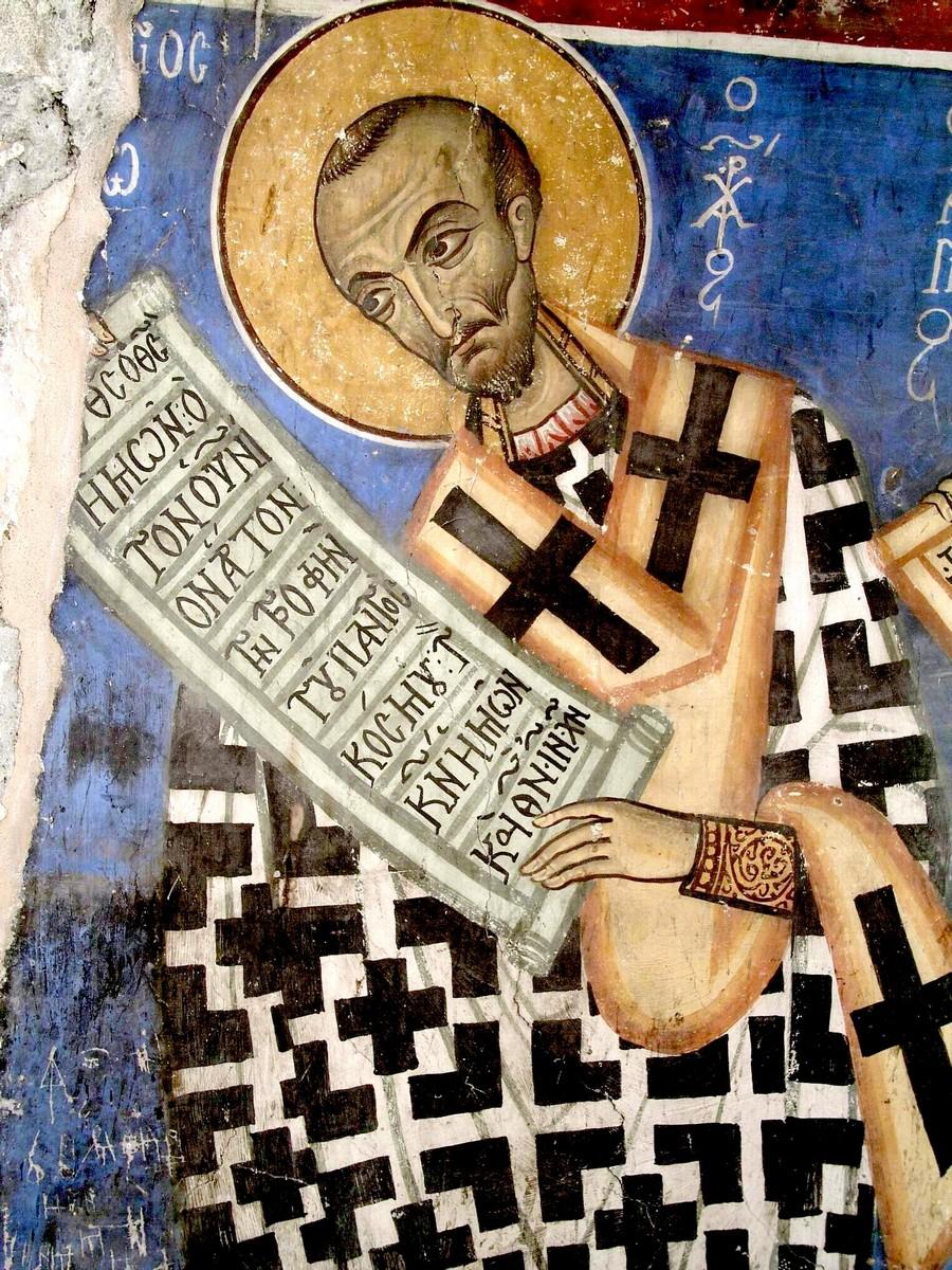 Святитель Иоанн Златоуст. Фреска церкви Архангела Михаила, Като Лефкара, Кипр. XII век.