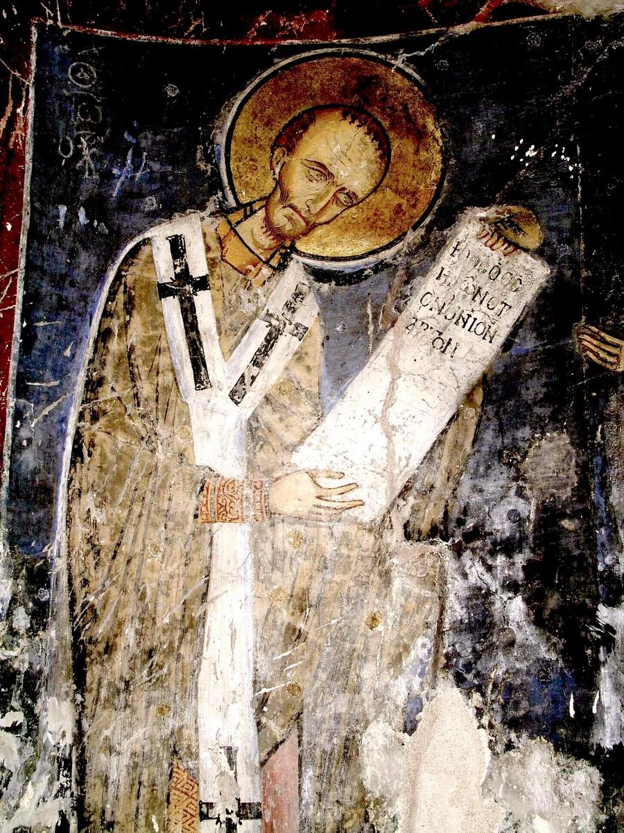 Святитель Иоанн Златоуст. Фреска монастыря Святого Неофита Затворника на Кипре. Конец XII века. Иконописец Апсевд Феодор.