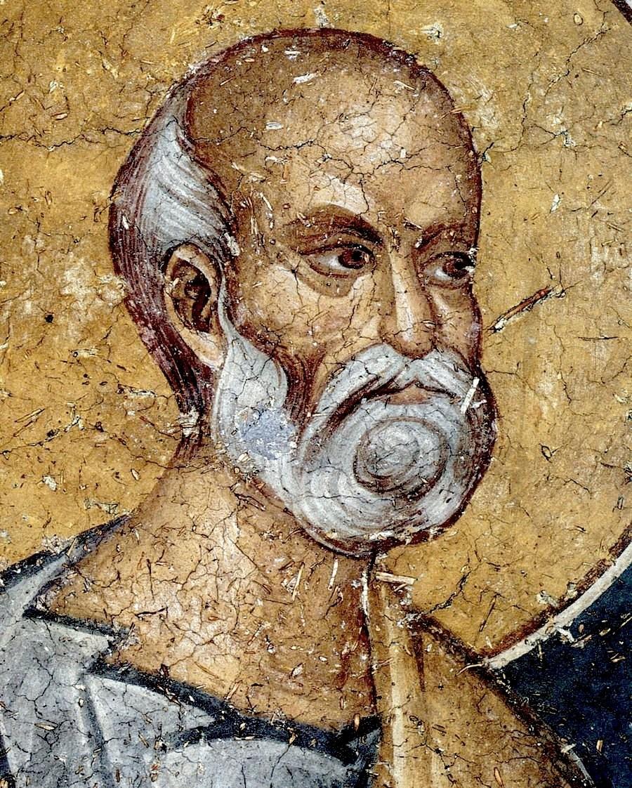 Святой Пророк Иона. Фреска монастыря Панагии Олимпиотиссы в Элассоне, Греция. XIV век. Фрагмент.