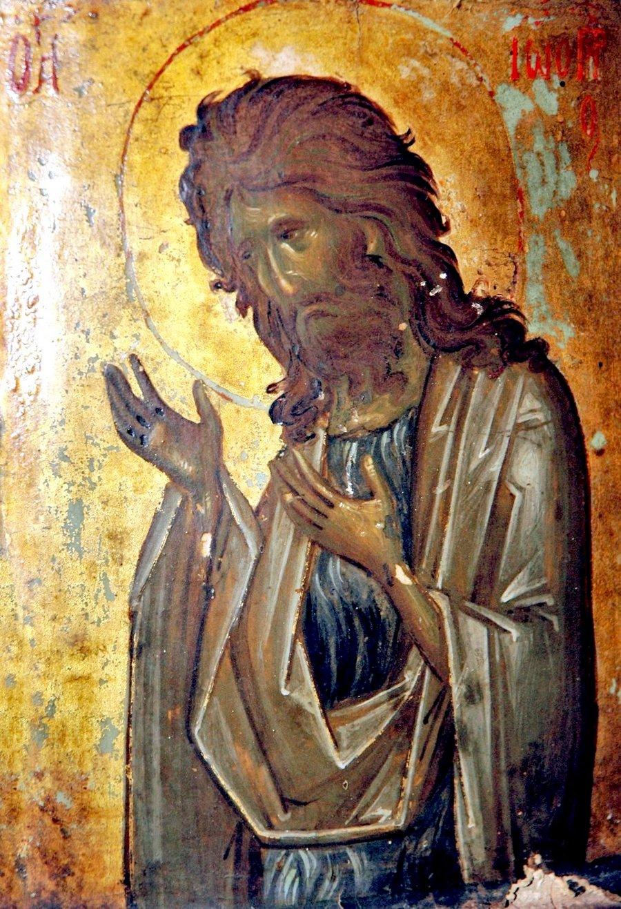 Святой Пророк, Предтеча и Креститель Господень Иоанн. Византийская икона XIV века. Монастырь Святой Екатерины на Синае.