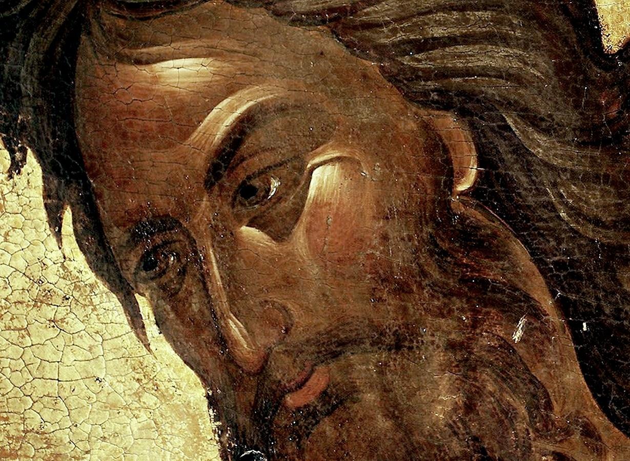 Святой Пророк, Предтеча и Креститель Господень Иоанн. Фрагмент византийской иконы 1360-х годов. Сербский монастырь Хиландар на Афоне.