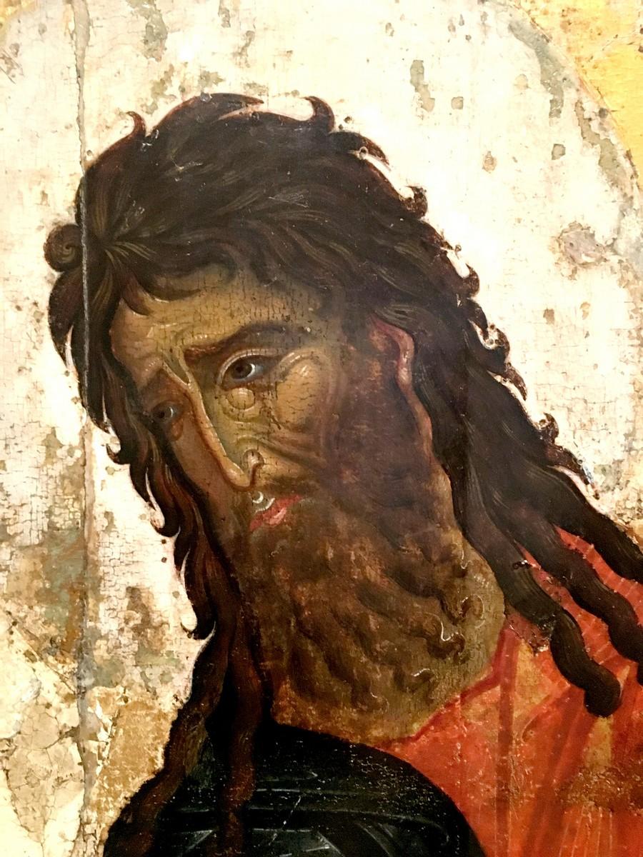 Святой Пророк, Предтеча и Креститель Господень Иоанн. Византийская икона XIV века. ГЭ. Фрагмент.