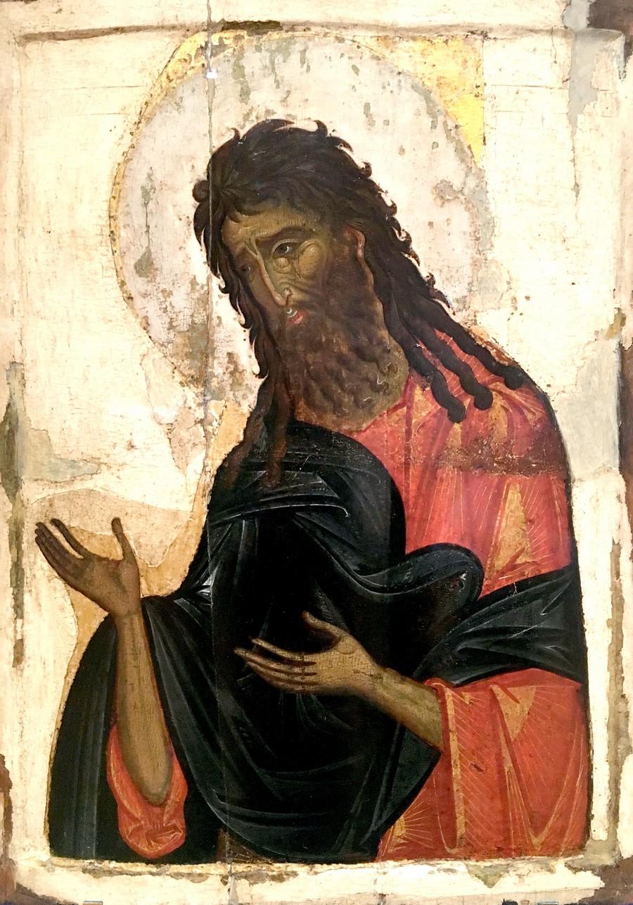 Святой Пророк, Предтеча и Креститель Господень Иоанн. Византийская икона XIV века. ГЭ.