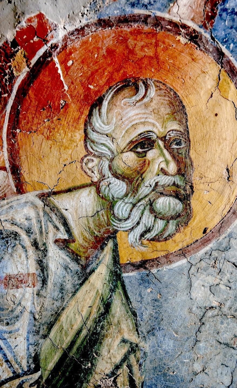 Святой Апостол и Евангелист Иоанн Богослов. Фреска церкви Святого Георгия в Курбиново, Македония. 1191 год.