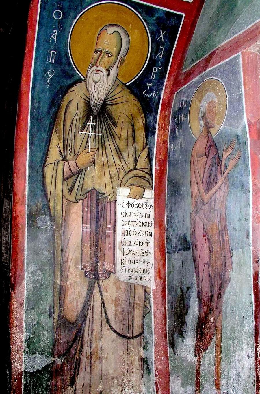 Святой Преподобный Харитон Исповедник. Фреска церкви Панагии Аракиотиссы (Панагии ту Арака) в деревне Лагудера на Кипре. 1192 год.