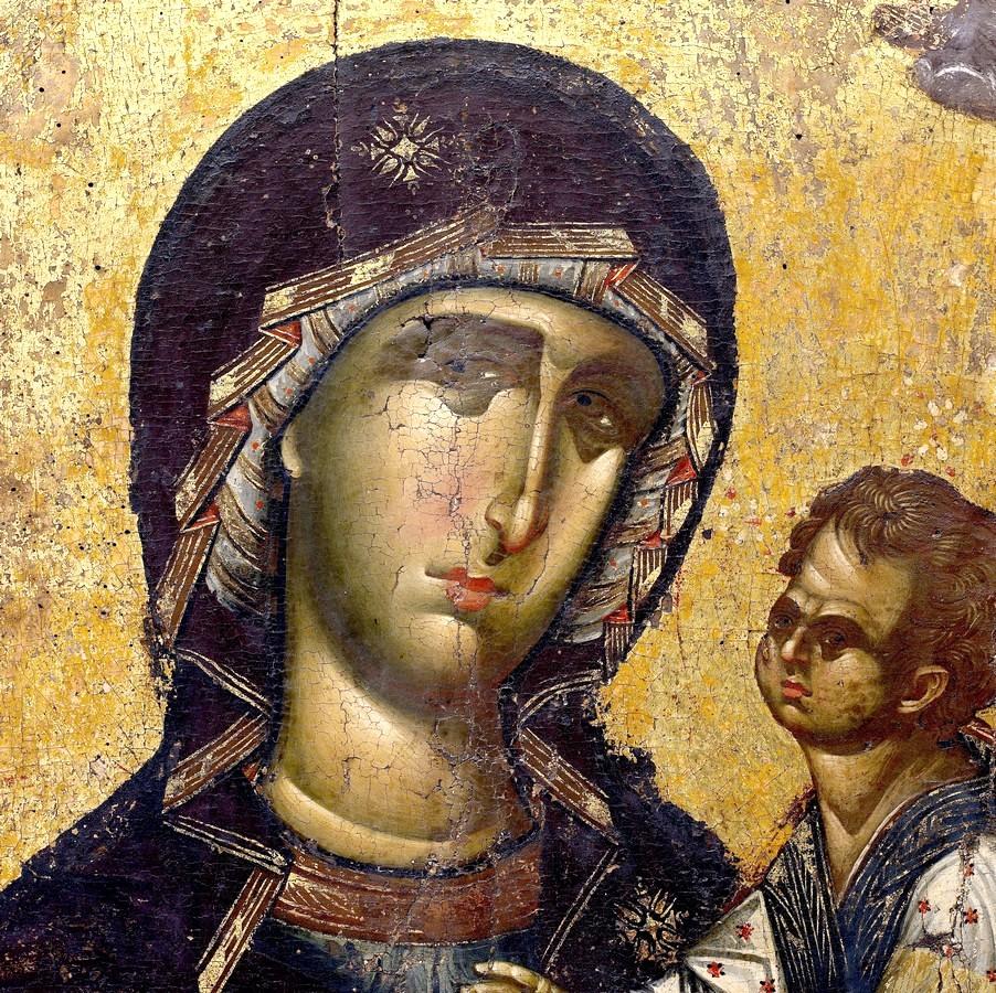 "Икона Божией Матери ""Одигитрия"". Византия, 1310 - 1320 годы. Монастырь Ватопед на Афоне. Фрагмент."