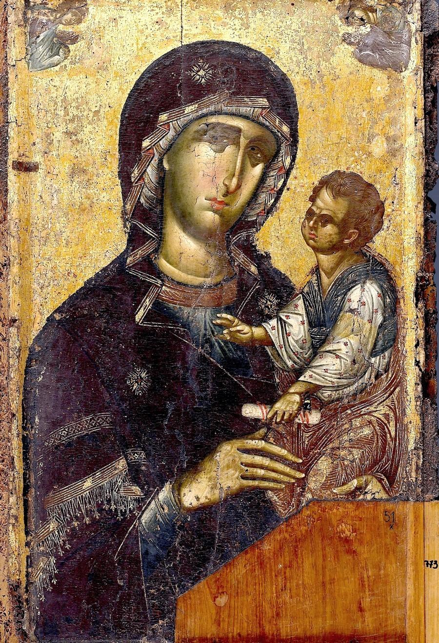 """Икона Божией Матери """"Одигитрия"""". Византия, 1310 - 1320 годы. Монастырь Ватопед на Афоне."""