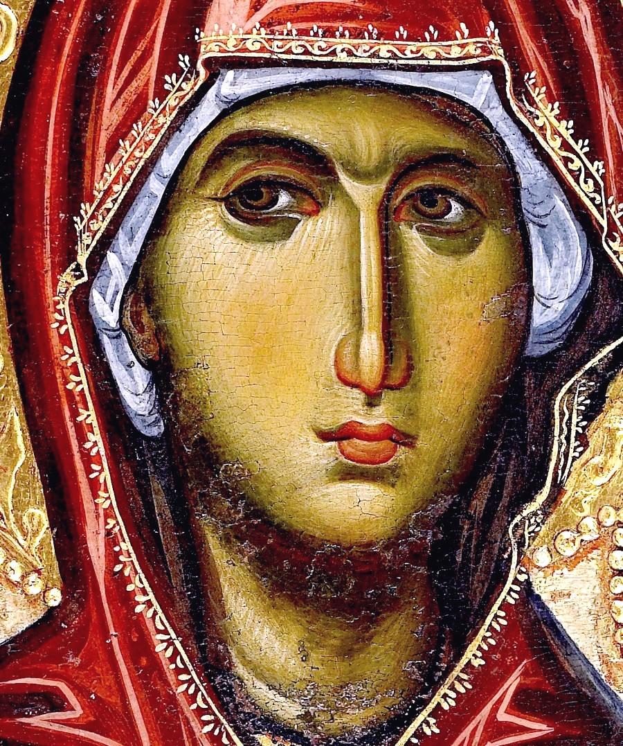 "Икона Божией Матери ""Одигитрия"". Византия, вторая половина XIII века. Монастырь Ватопед на Афоне. Фрагмент."
