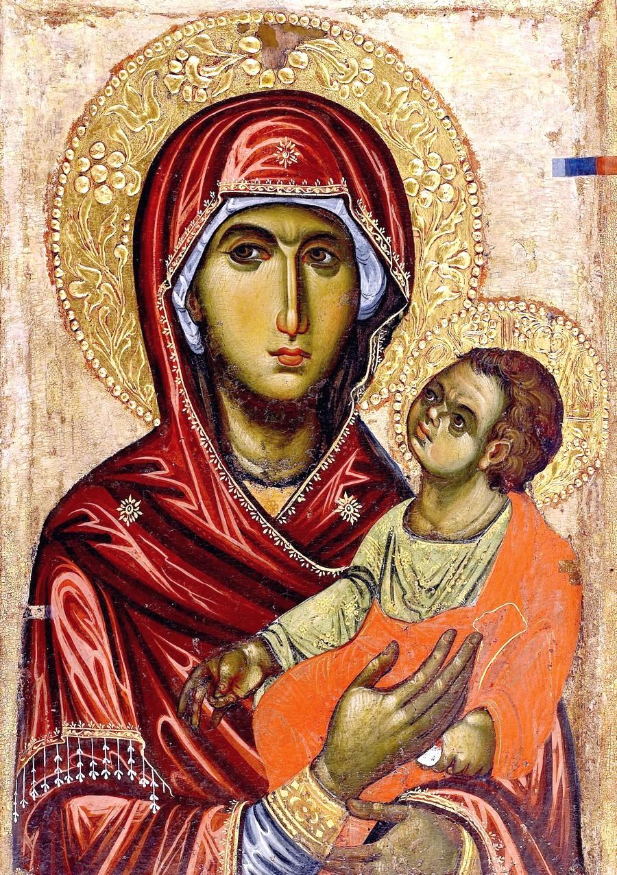 "Икона Божией Матери ""Одигитрия"". Византия, вторая половина XIII века. Монастырь Ватопед на Афоне."