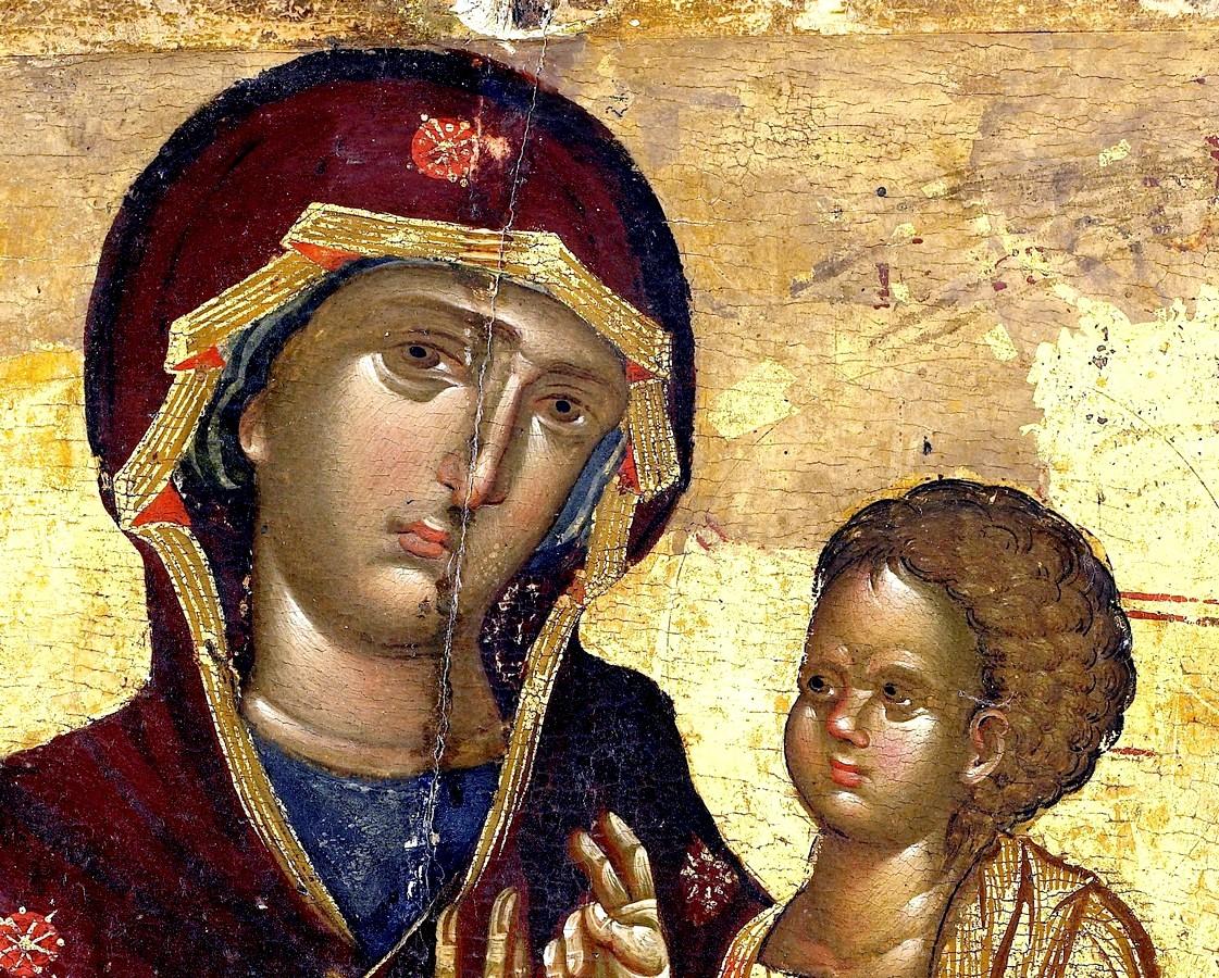 """Икона Божией Матери """"Одигитрия"""". Византия, XIV век. Монастырь Ватопед на Афоне. Фрагмент."""