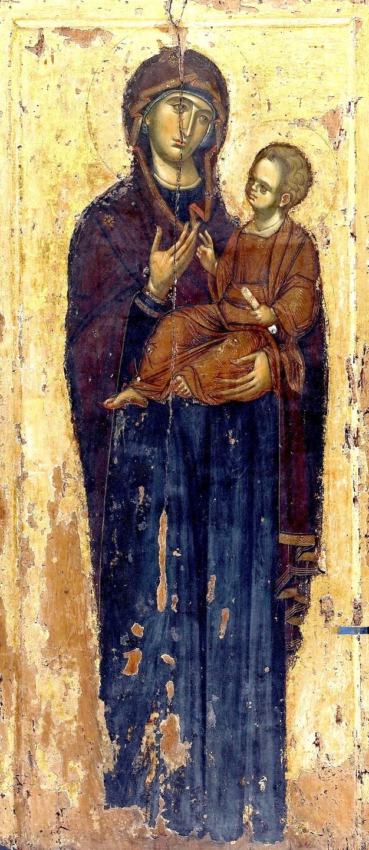 "Икона Божией Матери ""Одигитрия"". Византия, XIV век. Монастырь Ватопед на Афоне."