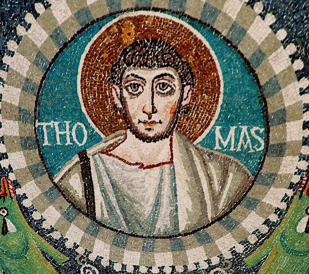 Святой Апостол Фома. Византийская мозаика в церкви Сан-Витале в Равенне, Италия. 546 - 547 годы.
