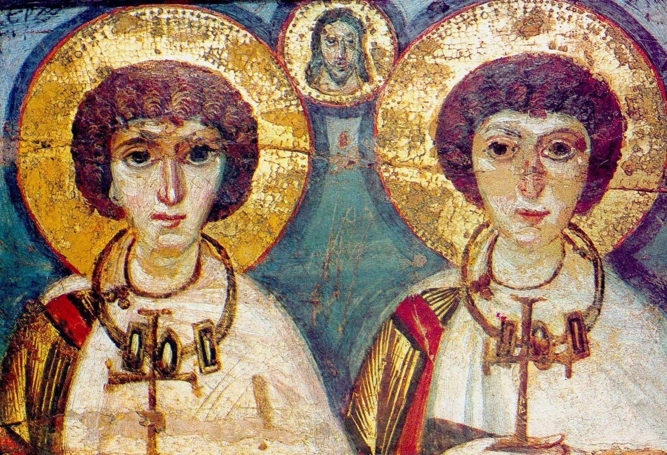 Святые Мученики Сергий и Вакх. Византийская энкаустическая икона VII века.