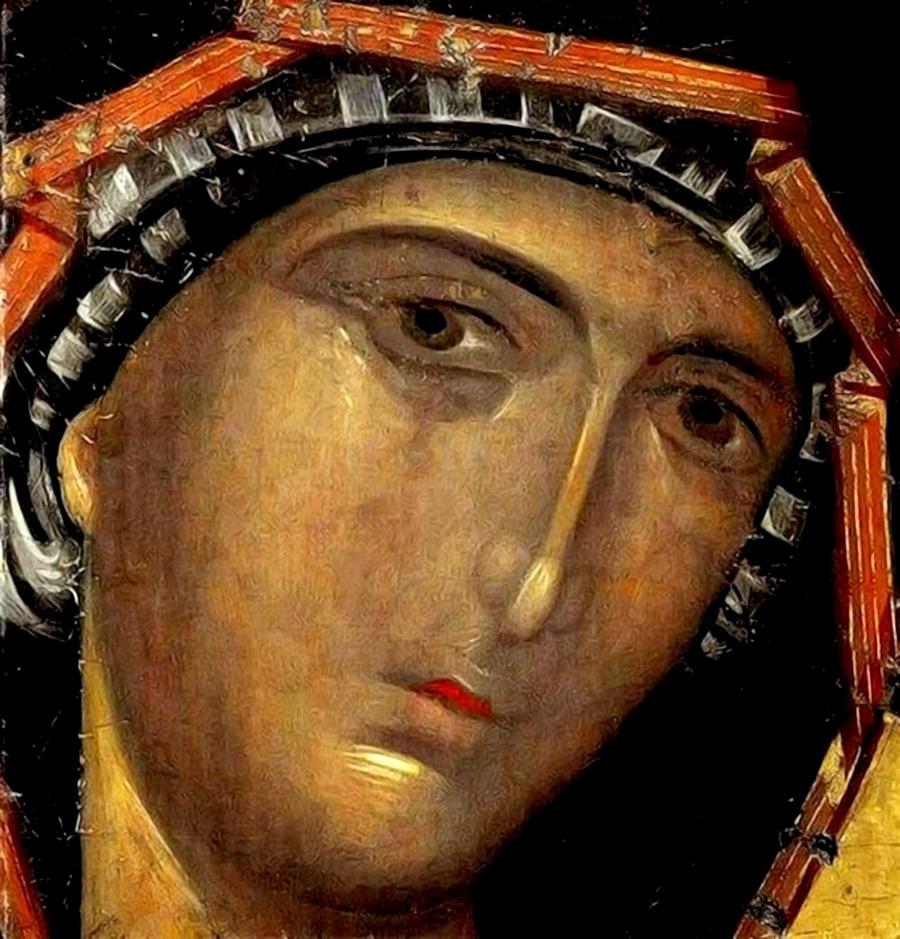 Лик Пресвятой Богородицы. Фрагмент византийской иконы.