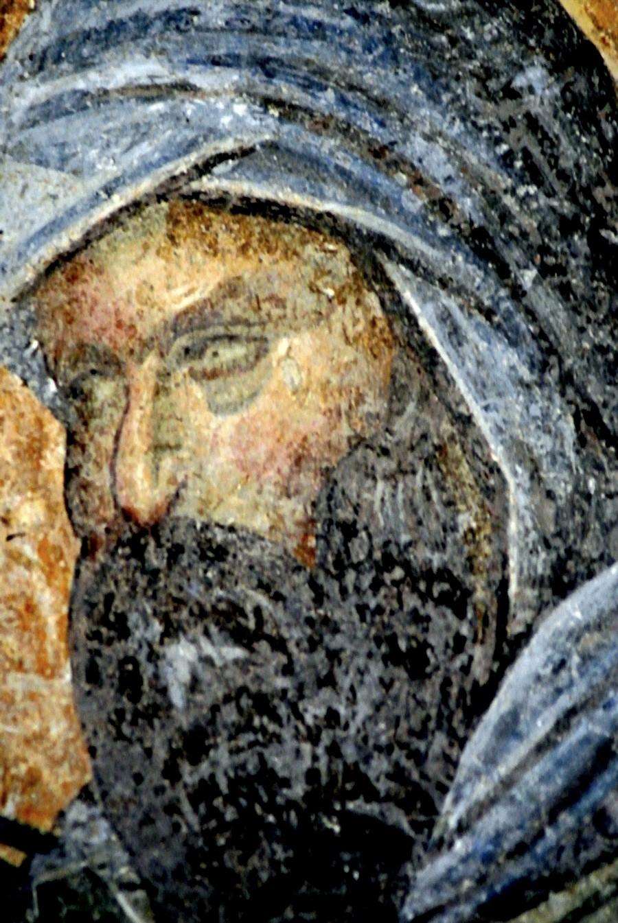 Святой Преподобный Косма, Епископ Маиумский, творец канонов. Фреска монастыря Хора в Константинополе. 1316 - 1321 годы. Фрагмент.