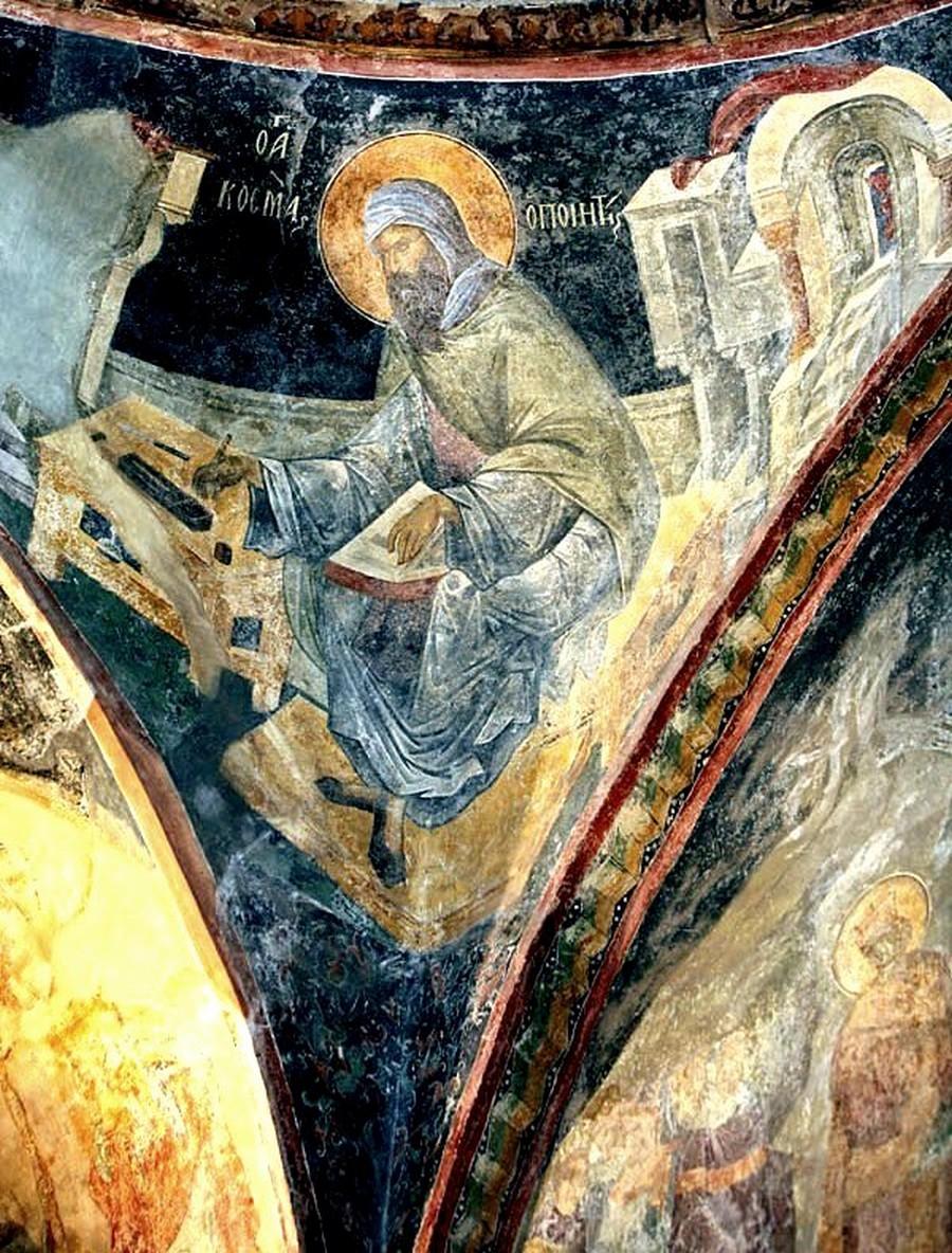 Святой Преподобный Косма, Епископ Маиумский, творец канонов. Фреска монастыря Хора в Константинополе. 1316 - 1321 годы.