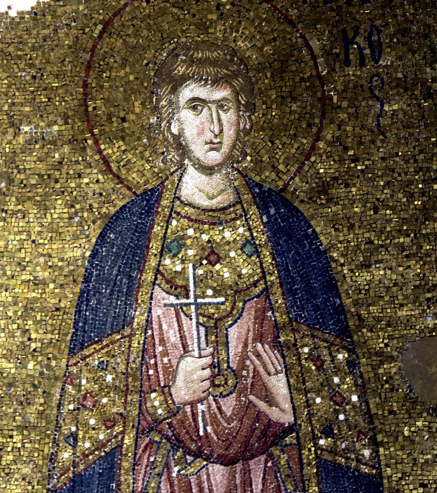 Святой Мученик Андроник Аназарвский. Мозаика монастыря Хора в Константинополе. 1316 - 1321 годы. Фрагмент.