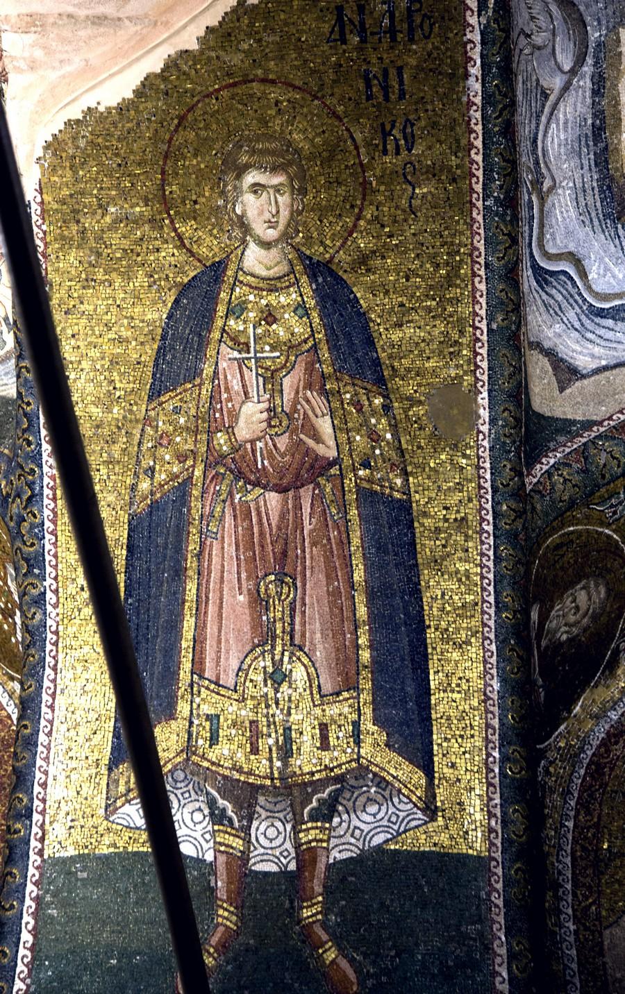Святой Мученик Андроник Аназарвский. Мозаика монастыря Хора в Константинополе. 1316 - 1321 годы.