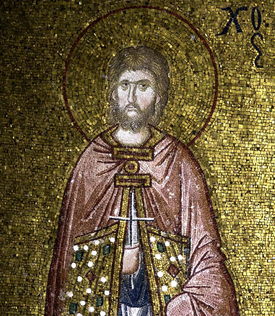 Святой Мученик Тарах Аназарвский. Мозаика монастыря Хора в Константинополе. 1316 - 1321 годы. Фрагмент.