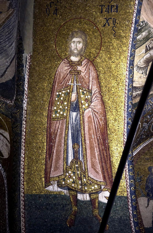 Святой Мученик Тарах Аназарвский. Мозаика монастыря Хора в Константинополе. 1316 - 1321 годы.