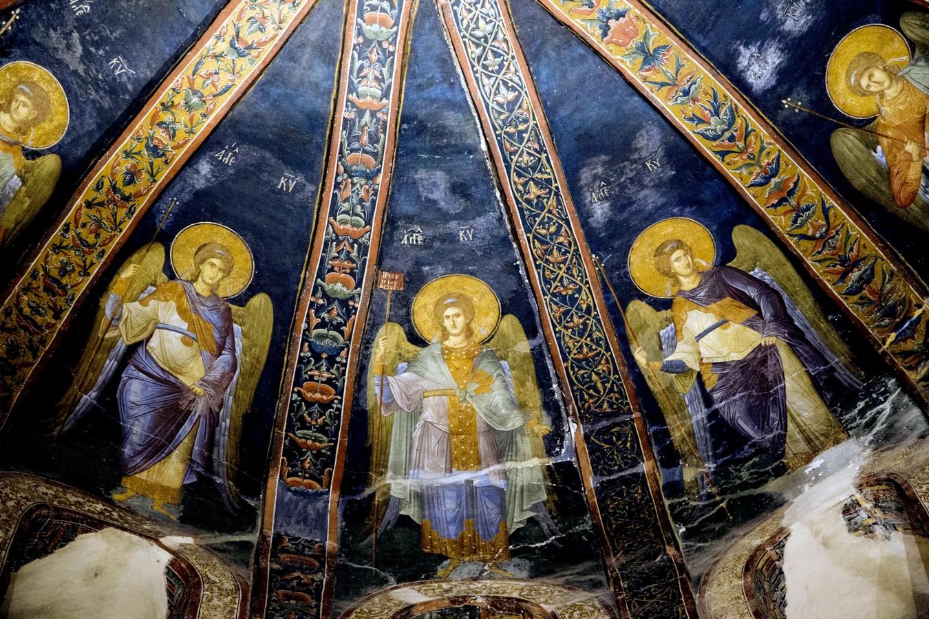 Ангелы Господни. Фреска монастыря Хора в Константинополе. 1316 - 1321 годы.
