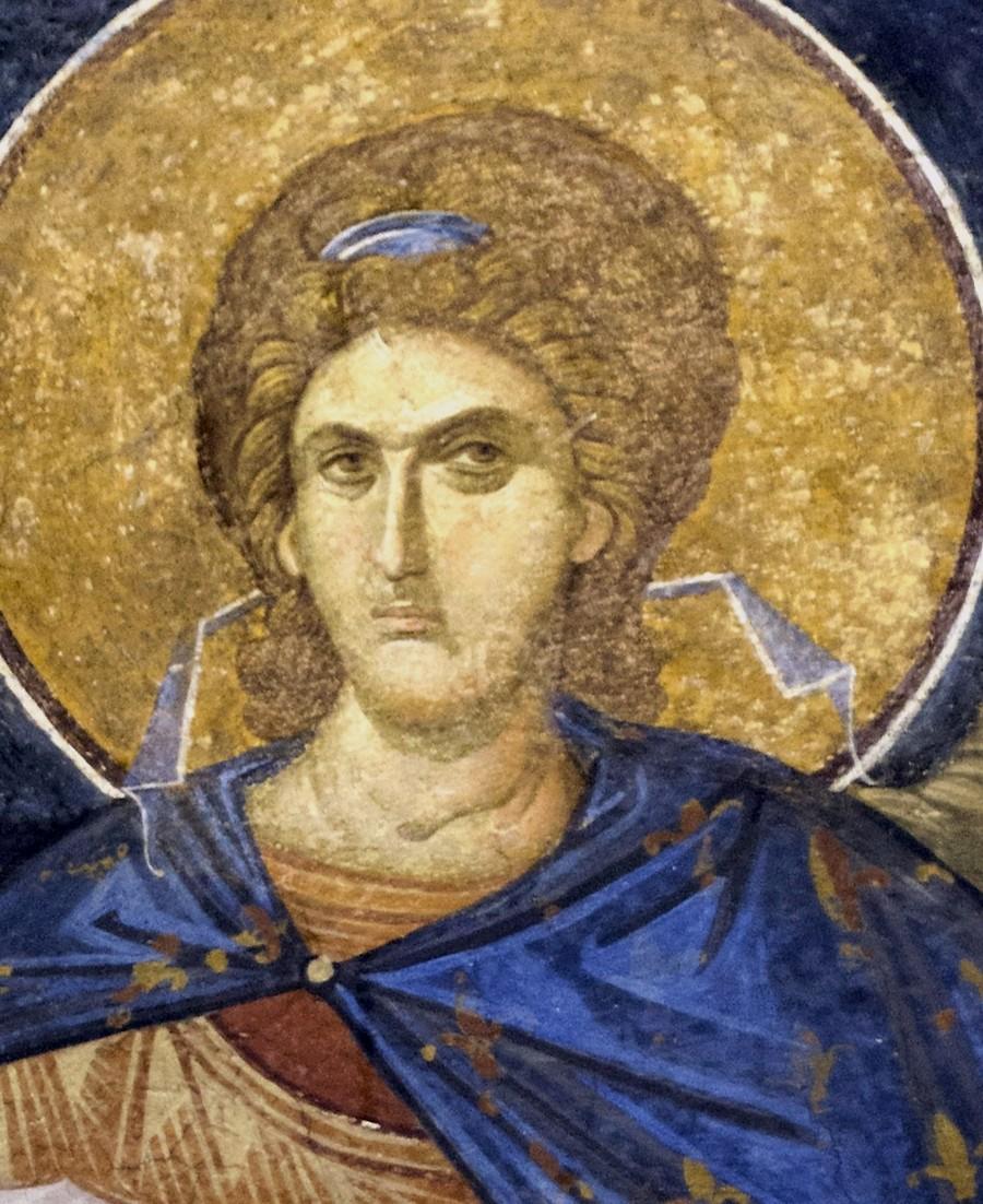Ангел Господень. Фреска монастыря Хора в Константинополе. 1316 - 1321 годы. Фрагмент.