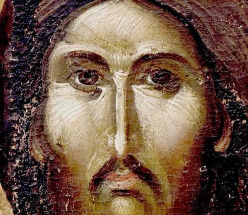 """Лик Спасителя. Фрагмент иконы """"Христос Пантократор"""". Византия, 1370 - 1380-е годы. Византийский Церковный музей в Митилини, Греция."""