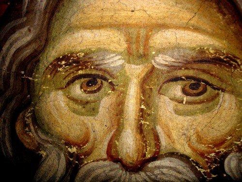 Святой Пророк Иеремия. Фреска храма Протатон (Протат) на Святой Горе Афон. Конец XIII века. Иконописец Мануил Панселин.