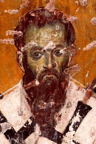 Святитель Василий Великий, Архиепископ Кесарии Каппадокийской. Фреска церкви Порта Панагия, Греция. 1283 - 1285 годы.