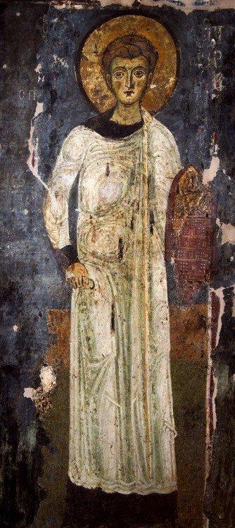 Святой Первомученик Архидиакон Стефан. Фреска церкви Святого Стефана в Кастории, Греция. XIII век.