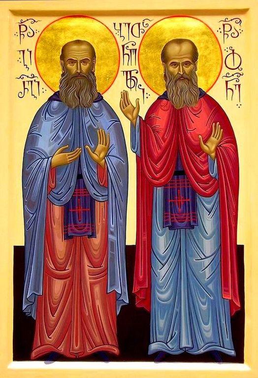 Святые Преподобные Иоанн (Майсурадзе) и Иоанн-Георгий (Мхеидзе), Бетанийские. Иконописец архимандрит Лазарь (Абашидзе).
