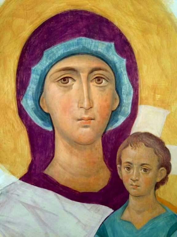 Пресвятая Богородица с Младенцем. Фреска в процессе создания.